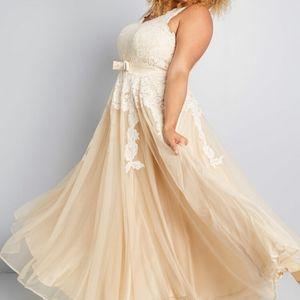 Modcloth Memorable Magic Wedding Dress in Tea
